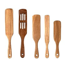 5Pcs Wooden Spatula Set,Non-Stick Natural Wood Spatula Kitchen Utensils,Wooden Spoon with Hanging Hole Slot Stirring Rod