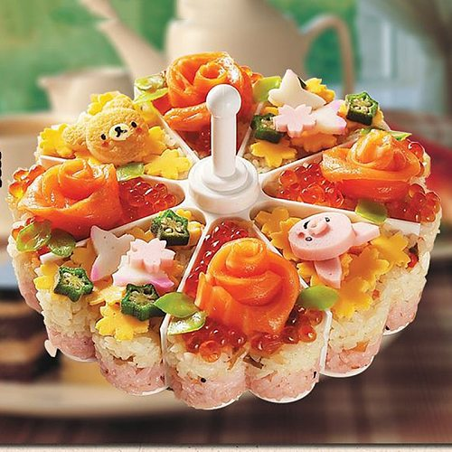 New Creative Sushi Maker Cake Pan Mould Suits DIY Rice Mold Kitchen Sushi Roll Mold Tools Set Jelly Pudding Rolls Easy Made