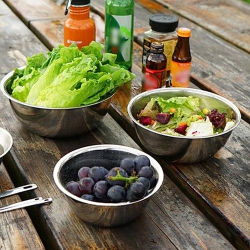 5Pcs Stainless Steel Mixing Bowls Set Flat Bottom Fruit Salad Cooking Baking Round Bowl Rust-Proof Egg Mixer Bowl Kitchen Supply