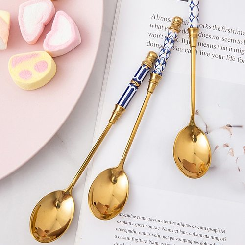 Stainless Steel Coffee Ceramic Long Handle  Stirring Gold-Plated Dessert Spoon