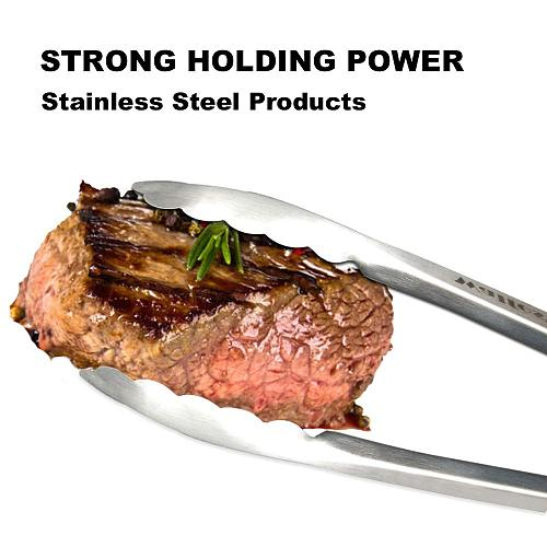 WALFOS Non-Stick BBQ Grilling Tong Salad Serving Food Tong Stainless Steel Metal Kitchen Tongs Barbecue Cooking Locking Tong