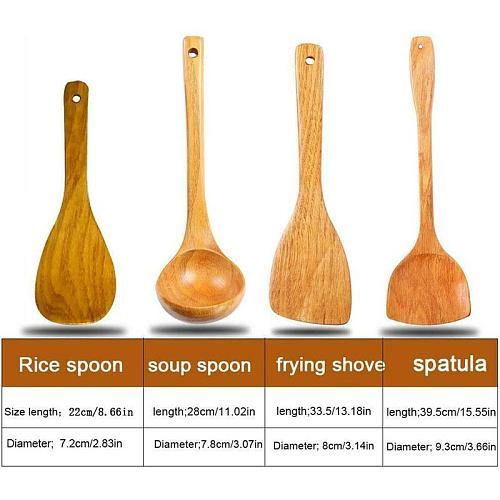 4Pcs Wooden Shovel Spoon Non Stick Wood Long Rice Spatula Kitchen Cooking Utensil Hand Stir Fry Tools Sets