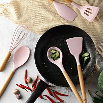 Wooden Silicone Kitchen Utensils Nonstick Utensils Cooking Tool Spoon Soup Spoon Turner Spatula Tong Cookware Baking Gadget