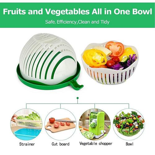 Upgraded Salad Cutting Bowl Multifunctional Fruit And Vegetable Tools Creative Salad Mixing Bowl Household Kitchen Accessories