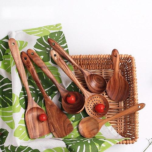 Natural Wooden Tableware Spoon Filter Soup Skimmer Cooking Spoon Scoop Kitchen Home Tableware Dinnerware