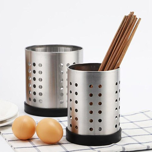 Stainless Steel Chopsticks Holder Kitchen Utensil Caddy Tableware Drying Organizer with Removable Base