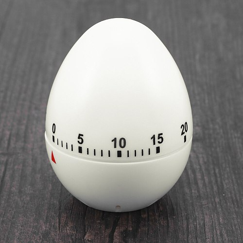 Cute Egg Shape Mechanical Rotate Timer Household Countdown Timer Manual Cooking Timekeeper Kitchen Reminder (White)