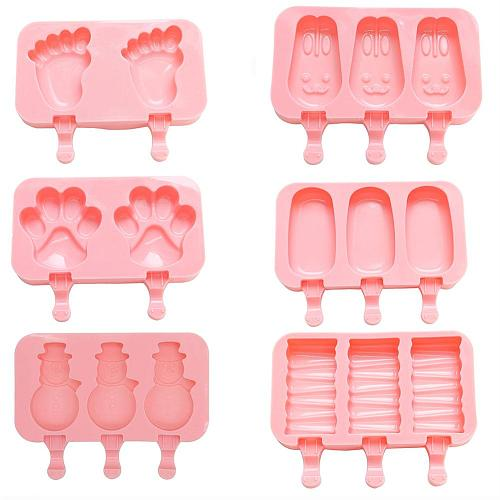 Silicone Footprint Rabbit Paw Striped Ice Cream Tubs DIY Frozen Ice Lolly Cream Mold Tray Tool 6 Style