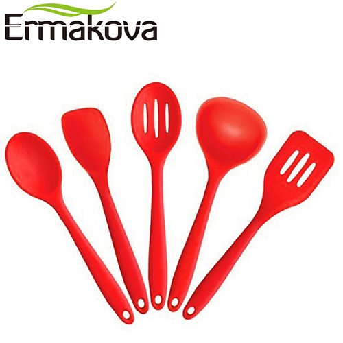 ERMAKOVA 5 Pcs/Set Silicone Kitchen Utensil Set Non-Stick Heat Resistant Spoon Ladle Turner Spatula Slotted Spoon FDA Approved