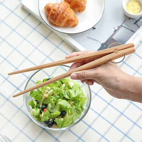 Wooden Kitchen Tongs Salad Serving Tongs Clip BBQ Meat Tongs Wood Toast Bread Food Tongs Clamp Wooden Utensils Cooking Tools