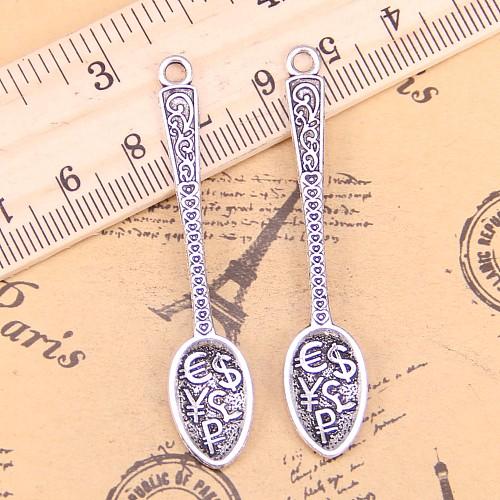 48pcs Charms Monetary symbol Spoon 57x12mm Antique Pendants,Vintage Tibetan Silver Jewelry,DIY for bracelet necklace
