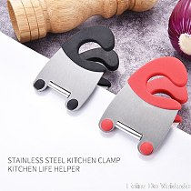 1PCS Useful Pot Clips Stainless Steel Tongs Holder for Pot Pan Spoon Holder Spatula Storage Rack Kitchen Cooking Tools