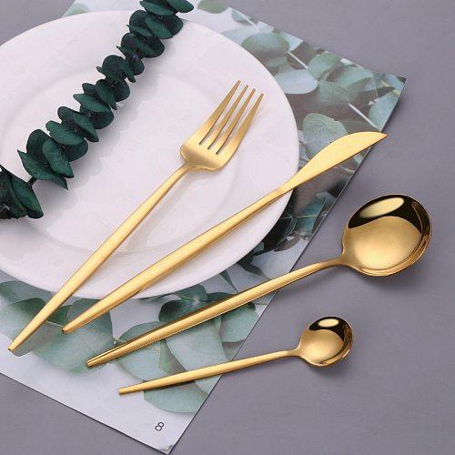 Kitchen Dinnerware Set Gold Stainless Steel Dessert Knife Fork Spoon Cutlery Set Fork and Spoon Flatware Cutlery Tableware Set