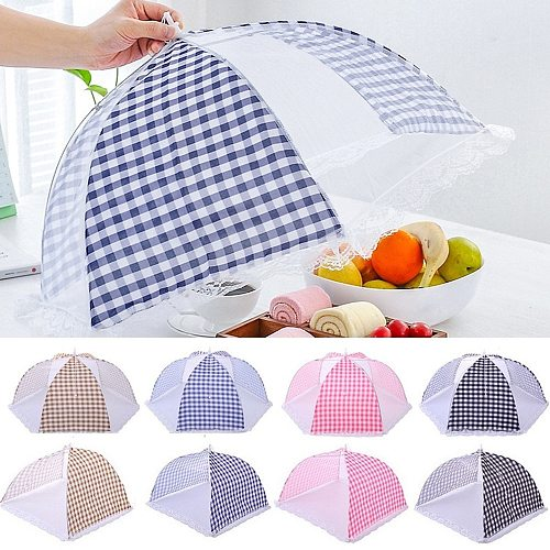 Anti Fly Mosquito Food Dish Cover Kitchen Folded Mesh Food Cover BBQ Picnic Kitchenware Umbrella Style Kitchen Tools