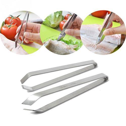 New 12cm Stainless Steel Fish Bone Vegetable Peeling Tweezers REMOVER Pincer