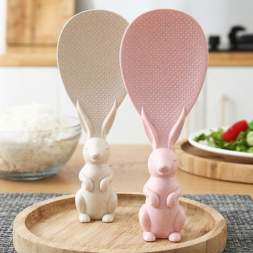 Home Wheat Straw Rabbit Spoon Can Stand Up Rabbit Rice Shovel Rice Cooker Rice Spoon Creative Non-stick Rice Cartoon Rice Spoon
