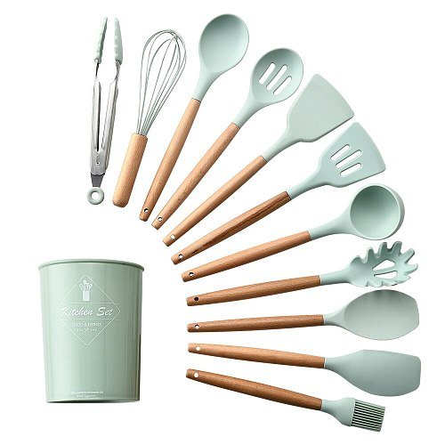 12pcs/set Cooking Utensil Set Silicone Spaghetti Tong /Food Clip/Oil Brush/Spatula/Egg Beater/Container Kitchen Tools mx9271603