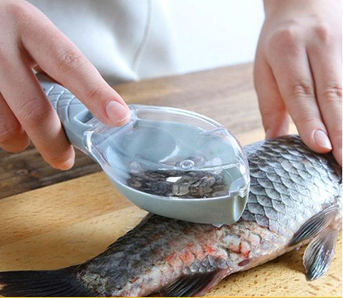 Fish Scales Graters Scraper Fish Cleaning Tool Scraping Scales Device with Cover Home Kitchen Cooking Fishing Tool KitchenGadget