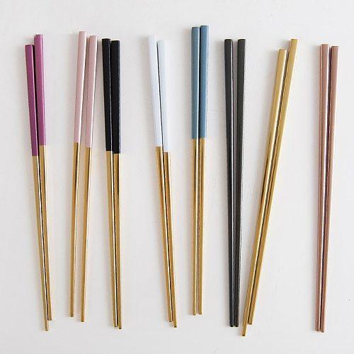 2Pairs Luxury 304 Stainless Steel Square Chopsticks Titanium Gold Rose Sushi Hashi Colorful Chinese Japanese Chopsticks 23.5cm