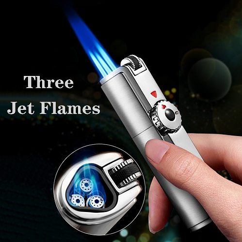 Jobon 307 inflate butane gas lighter three jet flames. lock fire torch metal windproof cigar lighter drill BOX drop shipping