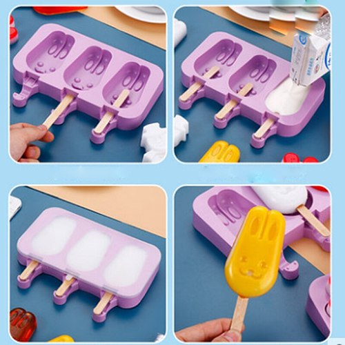 Rabbit Cute Cartoon Ice Cream Mold Silicone Popsicle Mold Reusable BPA-Free Ice Pop Mold With Lids and Sticks