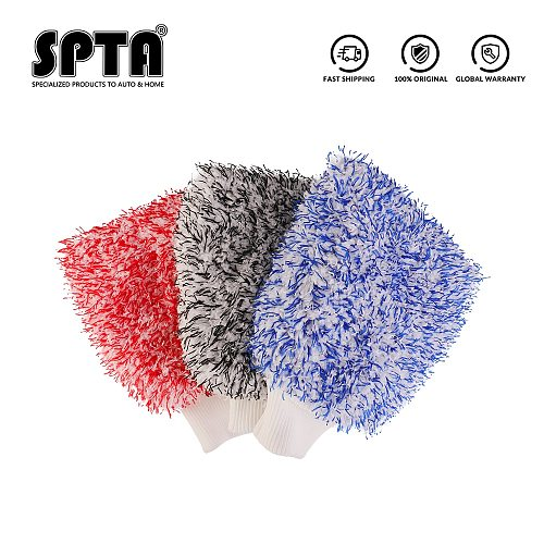 SPTA  Soft Absorbancy Glove  New Style Microfiber Car Washing Gloves Doubleside Colored Velvet Glove