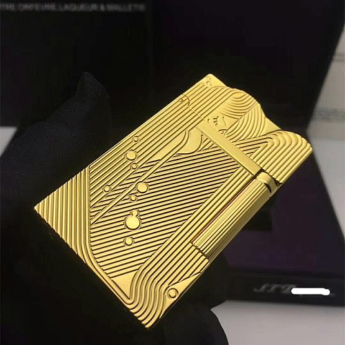 Gold Sleep Mermaid Pattern Vintage Lighter Cigarette Smoking Gas Lighters Classic Sound Metal Lighters Fire Men Collection