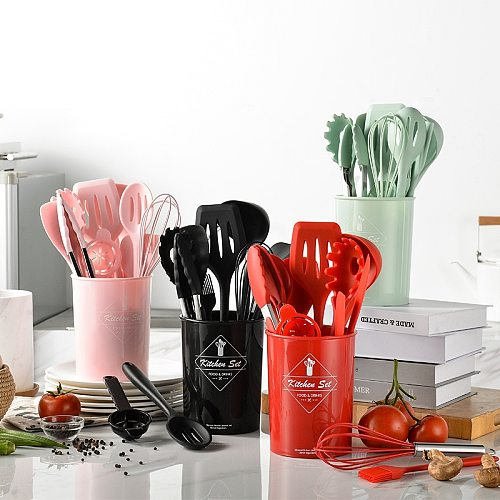 Silicone Kitchen Utensils Set Nonstick Utensils Cooking Tool Spoon Soup Ladle Turner Spatula Tong Cookware Kitchen Baking Gadget