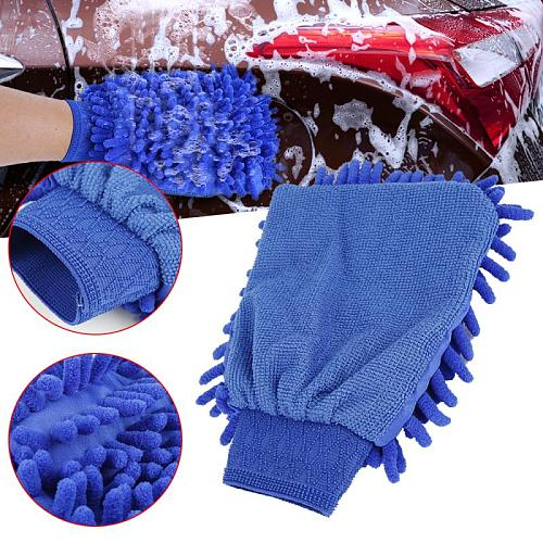 Double Sided Microfiber Washing Hand Gloves Car Window Dust Cleaning Glove Household Kitchen Car Cleaning Washing Maintenance