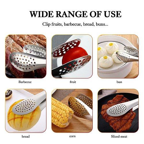 Stainless steel BBQ barbecue oven Tong salad food kitchen cooking with food and bread