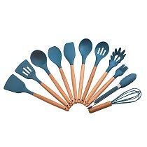 Food Grade Silicone Cooking Utensils Wooden Handle Dark Blue Spoon Scraper Spatula Ladle Egg Beaters Oil Brush Tools Kitchenware