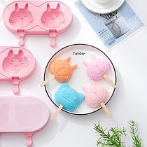 Cartoon Double Grid/kitten/rabbit Ice Cream Silicone Mold DIY Handmade Creative Popsicle Mold Homemade Ice Tray 20 Wooden Sticks