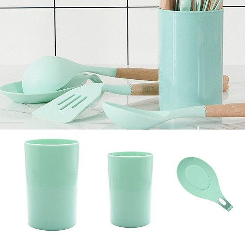 Kitchen Tool Storage Bucket Food Grade Silicone Heat Resistant Spoon Rest Utensil Spatula Holder Gadget Mat
