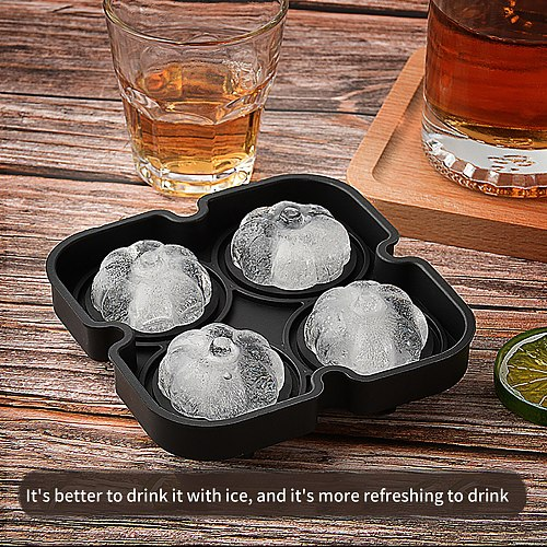 Ice Block Trays Pumpkin Ice Block Molds Reusable Silicone 4-ice Block Maker Diy Mold Ice Cream Mold With Popsicle Stick