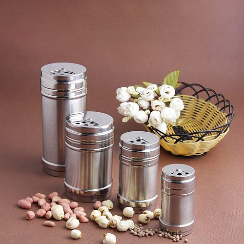 Stainless Steel Spice Jar Dredge Salt Sugar Spice Pepper Shaker Seasoning Can with Rotating Cover Multi-purpose Kitchen Tool