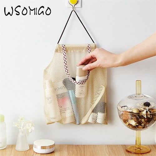 WSOMIGO 1Pcs Kitchen Accessories De Cocina Hangable Onion Garlic Storage Bag Fruit Wall Hanging Mesh Bag for Gadgets Cozinha-S