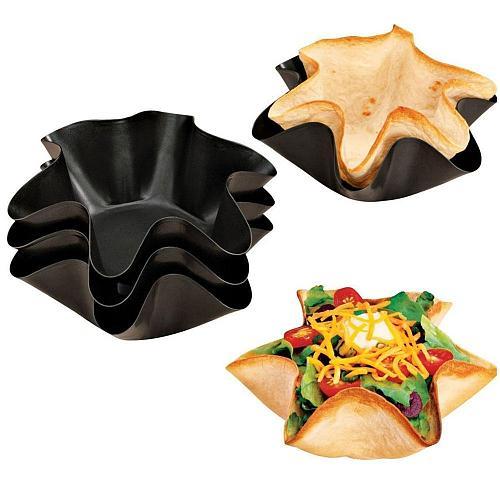 2pcs/pack 6/8inch Non-stick Fluted Tortilla Pan Taco Salad Bowl Pans Shell Maker Egg Tart Mold Flower Baking Molds Brioche Mold