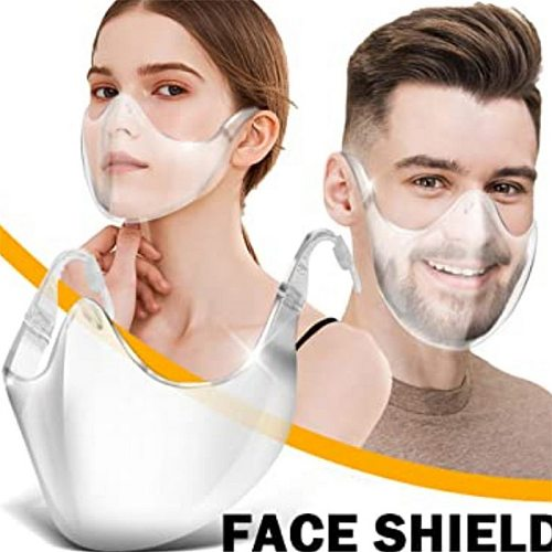 1pc Acrylic Anti-Oil-Splash Fog Face Mask Anti Droplet Splatter Screen Protector Mouth Cover Transparent Kitchen Cooking Tool