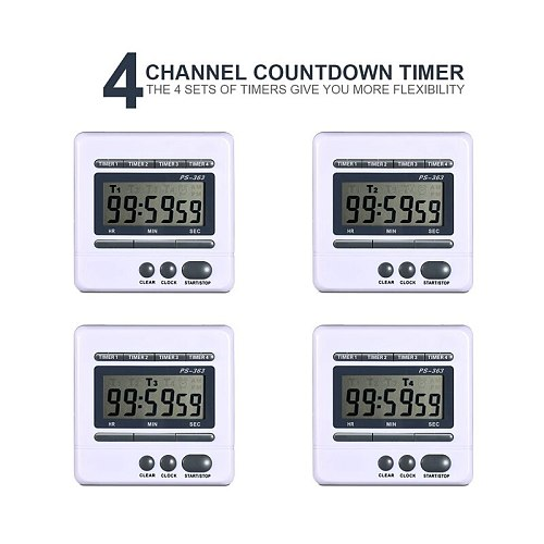 Digital Countdown Timer 4 Channel Count Up Down Kitchen Cooking Timer Clock