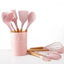 Wooden Handle Silicone Cooking Utensils Kitchen Utensil Set Non-stick Spatula Scraper Soup Spoon Brush Egg Beater Kitchen Tools