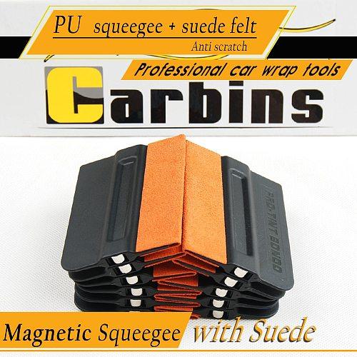 2PCS Car Tint Sticker Cover Tool Magnet Squeegee No-scratch Suede Edge Magnetic Film Scraper Vinyl Wrap Window Tint Tools