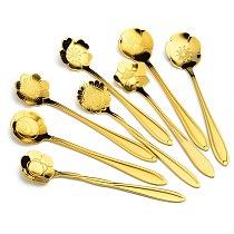 8PCs Ice Cream Spoon Cute Flower Stainless Steel Coffee Spoons Set Creative Rainbow Spoon Teaspoon Dessert Spoon Kitchen Gadget