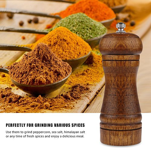 Salt and Pepper Mills, Solid Wood Pepper Mill with Strong Adjustable Ceramic Grinder  Manual Pepper Grinder Oak Kitchen Tools