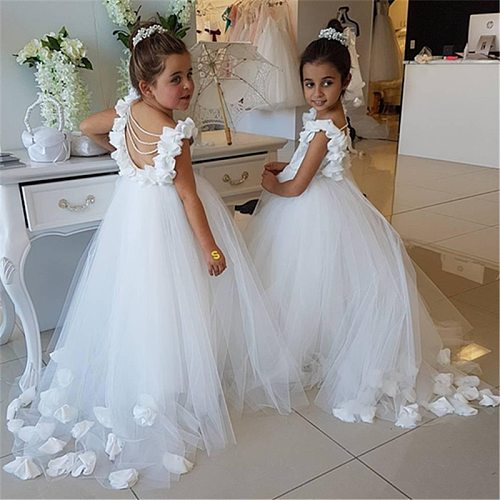 White  Flower Girl Dresses for Weddings First Communion Dresses Girls Water-soluble Lace Infant Toddler Pageant Party Gown