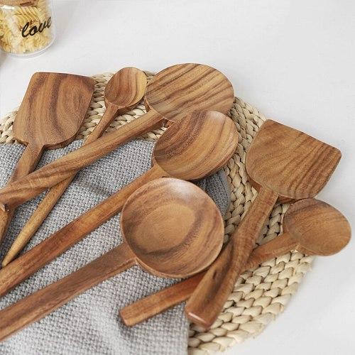 Musowood Teak Wooden Turner Spatula Rice Spoon Big Soup Scoop For Cooking Wood Kitchen Cooking Utensils Supplies