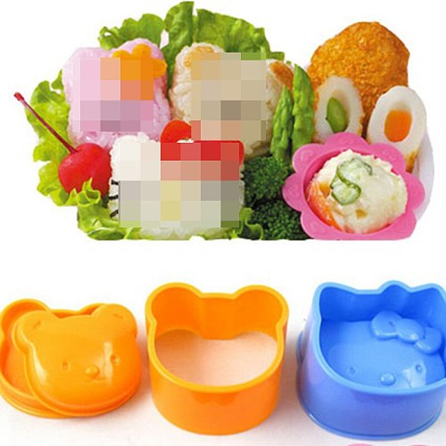 3Pcs/lot Cute 3D Cartoon Sushi Maker Children Rice Ball Mould DIY Tool Kitchen Accessories Rice Roll Mold Rice Ball Makers