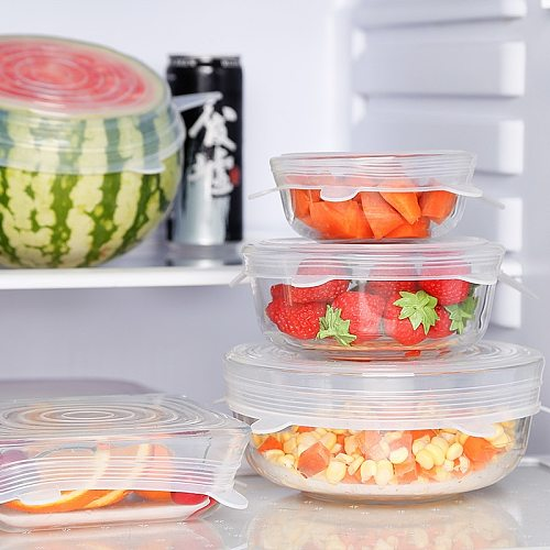 6 pieces of silicone elastic cover durable and reusable airtight food packaging containers of various sizes and shapes