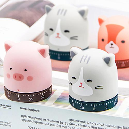 Cartoon Piggy/Cat/Fox Cooking Kitchen Timer Countdown Mechanical Alarm Clock for Home Cooking Baking Frying Kitchen Tools