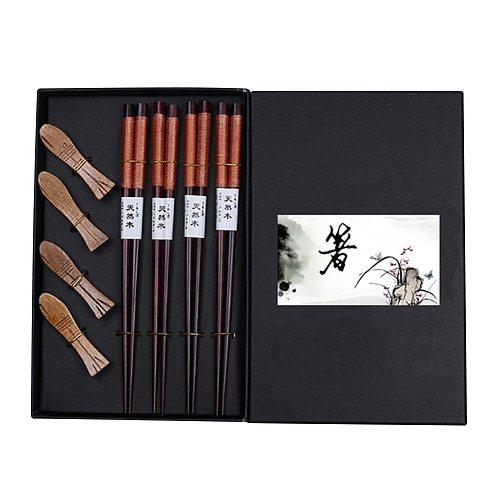Waasoscon 4 Pairs/lot Bamboo Chopsticks With Chopstick Racks Best Selling Tableware Japanese Chopsticks Set Palillos Japoneses
