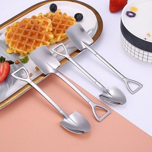Stainless Steel Spade Spoon Creative Retro Dessert Spoon Watermelon Spoon Tip Shovel Square Shovel Ice Cream Tip Spoon
